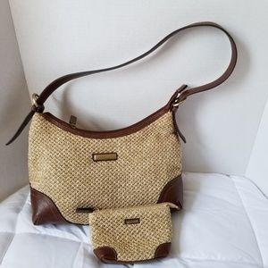 Rosetti Medium Woven Tan Brown Shoulder Bag